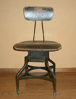 Antique UHL Toledo Drafting Stool Chair Steam Punk Industrial w/ Metal Tag
