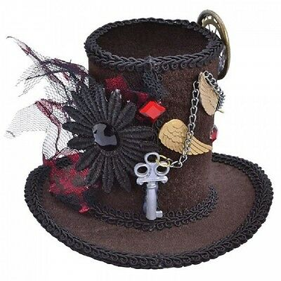 STEAMPUNK MINI TALL TOP HAT Ladies Fancy Dress Costume Accessory