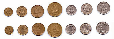 Russia 7 coins lot 1937-1946 type