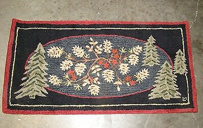 Victorian Trading Co Pine Menagerie Hooked Rug 2x4 Lodge