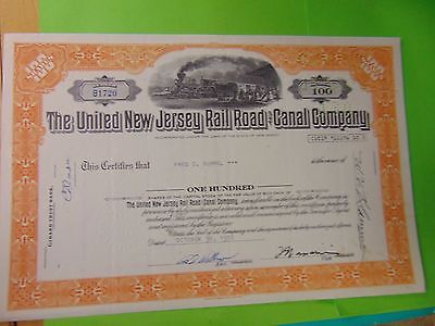 1972 UNITED NEW JERSEY RAIL ROAD CANAL COMPANY Company Stock Certificate 100