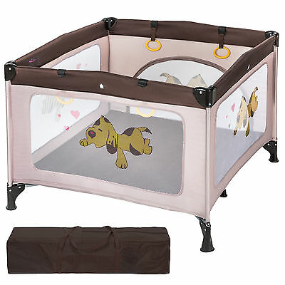 Portable Child Baby Infant Playpen Travel Cot Bed Crawl Play Area new brown
