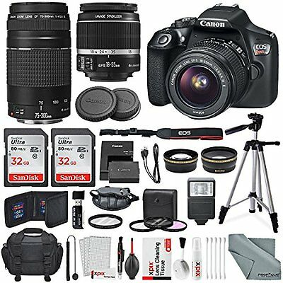 Canon EOS Rebel T6 DSLR CameraEF-S 18-55mm , 75-300mm, 64GB,  Accessory Bundle