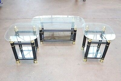 Roma Occasional Set Modern Designed Nest of 3 Glass Tables in Black & Gold NEW