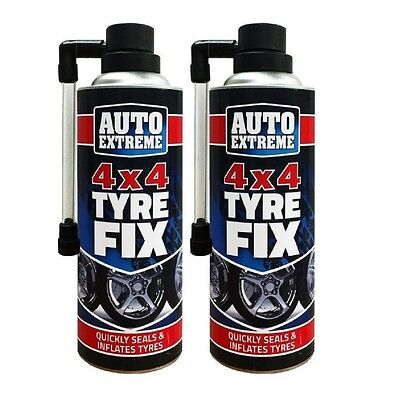 QUICK FIX TYRE REPAIR KIT 2pk 450ML XL CAR 4X4 EMERGENCY FLAT INFLATE PUNCTURE