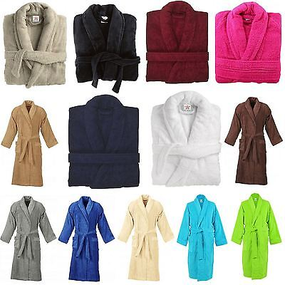 Women & Mens Egyptian Cotton Terry Towelling Shawl Collar Bath Rob Dressing Gown