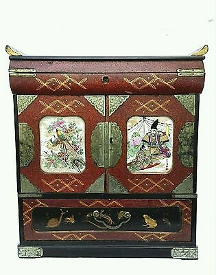 ANTIQUE JAPANESE MANY DRAWERS LAQUER WOOD NASHIJI SMALL CABINET KODANSU 19th