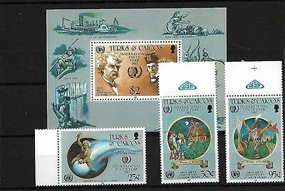 Turks & Caicos Sg849/52 + Ms853, 1985 Mark Twain Etc Mnh