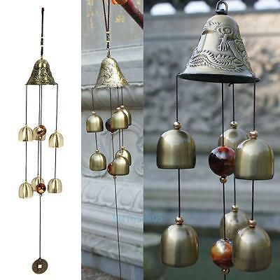 Copper Bells Wind Chime Outdoor Garden Hanging Charms Decor Feng Shui Ornament #
