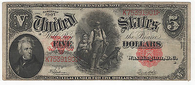 """1907 Series $5 Five Dollar Large Size Notes """"Woodchopper"""" Red Seal"""