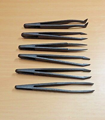 6 Piece Plastic Precision Tweezer Set (Anti Static) Tool Kit Size 1/2/3/5/6/8 mm