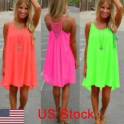 US Women Summer Chiffon Beach Mini Dress Swimwear Bikini Cover Up Loose Sundress