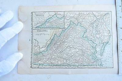 Antique Map of Vermont and Virginia Date and Origin Unknown