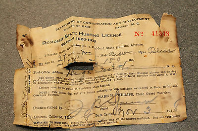 1928 Raleigh NC Resident State Hunting License Dept of Conservation &Development
