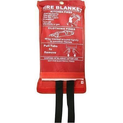 FIRE BLANKET 1M x 1M QUALITY QUICK RELEASE LARGE FULLY CE APPROVED, RED CASE