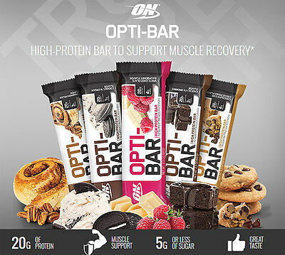 Optimum Nutrition ON Opti-Bar Low Sugar High Protein Bar Box Like Quest