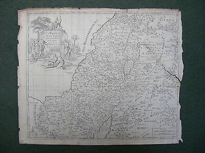 Original antique map of The Holy Land Divided Into The XII Tribes of Israel,