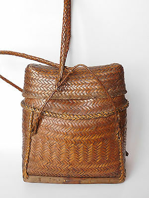 Ifugao vintage Original woven wicker tribal Backpack  from Luzon Philippines