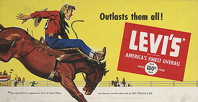 """""""LEVI'S - AMERICA'S FINEST OVERALL - OUR 100th YEAR"""" ADVERTISING METAL SIGN"""