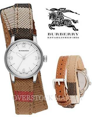 New! Burberry The Utilitarian White Dial Burberry Check Canvas Watch! Bu7849