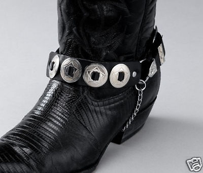 NEW! Western Black Leather Boot Chains - Silver Conchos