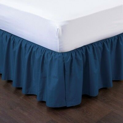"""1 Navy Solid Dressing Bed Skirt Pleated With Open Corners 14"""" Inch Drop New"""