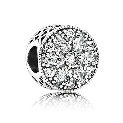 New Authentic Pandora Charm 791762CZ Radiant bloom Crystal W Tag & Suede Pouch