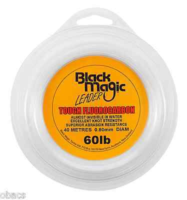 BLACK MAGIC TACKLE 60lb TOUGH FLUOROCARBON LEADER CLEAR  FISHING LINE