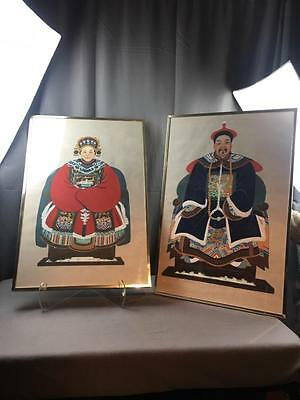 Two AntQ Chinese Ancestral Watercolor Gouache On Paper Paintings Framed