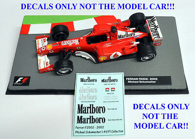 DECALS Michael Schumacher Ferrari F2002 Marlboro 1:43 Formula 1 Car Collection