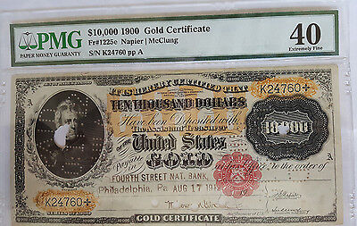 SCARCE Large 1900 $10,000 GOLD CERTIFICATE PMG 40 FR1225e - Napier/McClung