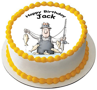 FISHING 7.5 PREMIUM Edible ICING Cake Topper CAN PERSONALISED D2