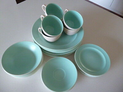 Poole Pottery Dinner Set 30 Piece Twintone C96 Mushroom/Ice Green - Complete