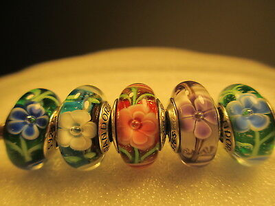 5 Pandora Silver 925 Ale Red Blue Purple Rose Flowers Collection Beads Charms