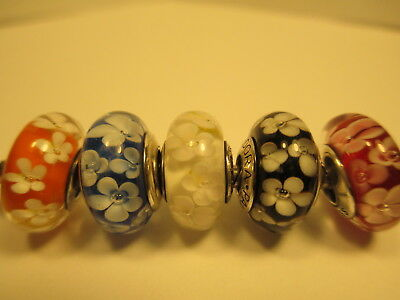5 Pandora Silver 925 Ale White Blue Black Field of Daisy Flower Mix Beads Charms