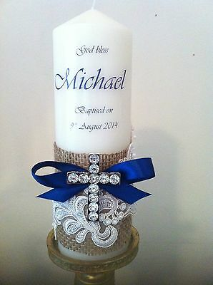 Personlised Christening Baptism Name Day Candle With Lace Blue Ribbon Cross