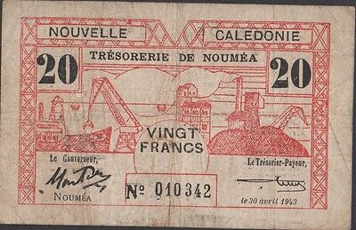 New Caledonia 20 Francs  30.4.1943  P 57a Circulated Banknote