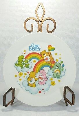Vintage 1983 Care Bears Plastic Deka Melamine Childs Plate 8 inch Rainbows