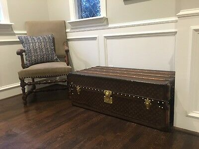 INCREDIBLE Antique Louis Vuitton Stand Up WARDROBE Steamer Trunk 1920s Table