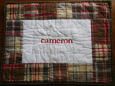 """NWOT Pottery Barn Kids Red Madras Plaid SMALL Cotton Pillow Sham """"CAMERON"""" *Flaw"""