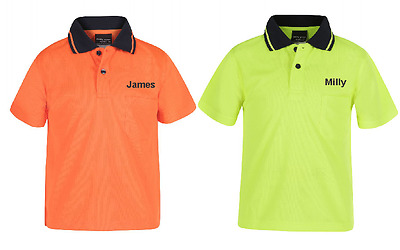 New Kids Safety Hi Vis Polo Shirt T-Shirt All Sizes 04-14