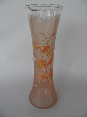 Antique Floral Hand Painted Peach & Clear Tall Glass Vase