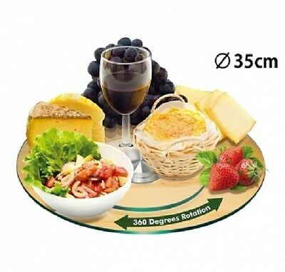 TEMPERED GLASS LZY Lazy SUSAN DINING KITCHEN DININGWARE GIFT HOME 35cm