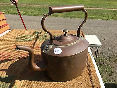 Antique Country Kitchen Stovetop Victorian English Copper Teapot
