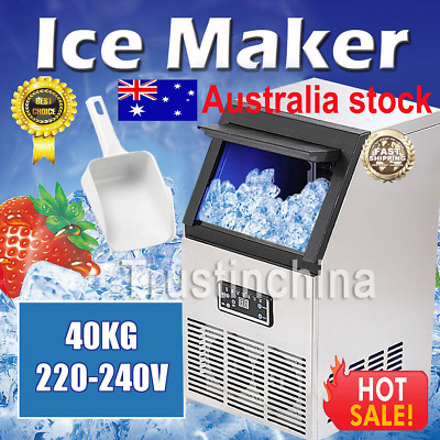 40KG 88Lbs Commercial Bar Ice Maker Cube Machines Stainless Steel 220-240V Auto