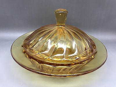 Vintage Amber Coloured Small Pressed Glass Dish With Lid