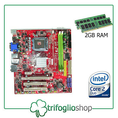 Kit  Main Board Scheda Madre 775 Msi Intel Core 2 Duo  2Gb Ram  P6Ngm