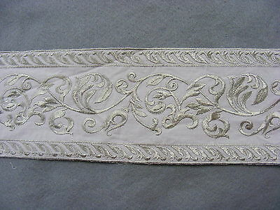 Broderie Anglaise Flat White/Sage Green Embroidered Galloon 100mm x 2 mts