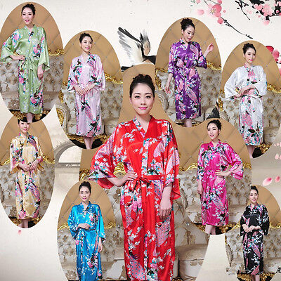 NEW Bridesmaid Peacock Long Kimono Robe Wedding Women Satin Silk Sleepwear