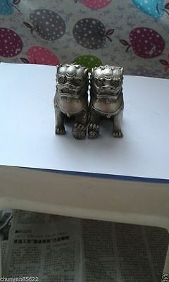 A Pair Chinese Silver color Lion Foo Fu Dog Small Statue
